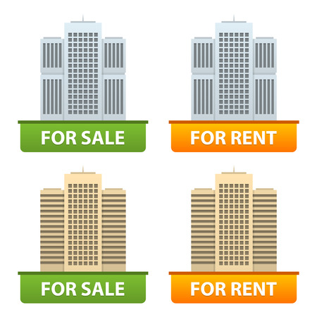 Buttons sale and rent of city apartments Vector