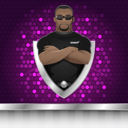 Background black man security guard of nightclub Ilustracja