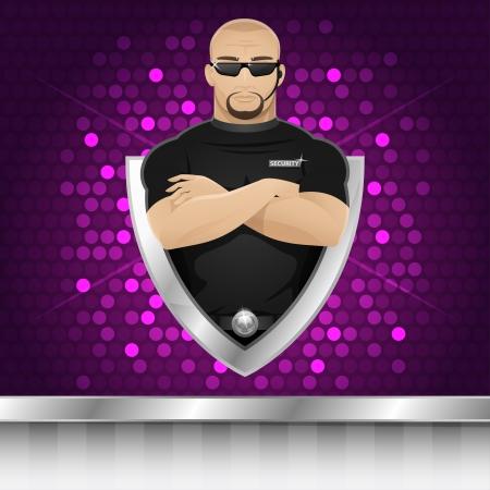 Background man security guard of nightclub Illustration