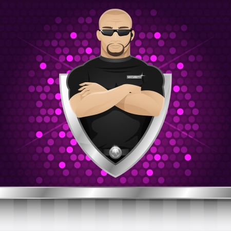 guard: Background man security guard of nightclub Illustration