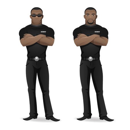 character of people: Black man security guard of nightclub