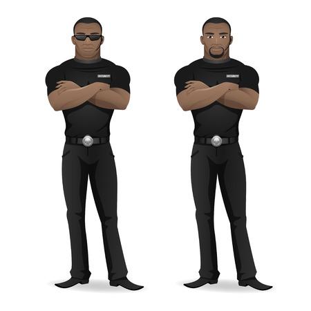 seguridad laboral: Hombre negro guardia de seguridad de discoteca