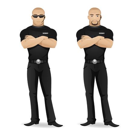 sicurezza sul lavoro: Guardia di sicurezza �an di discoteca Vettoriali