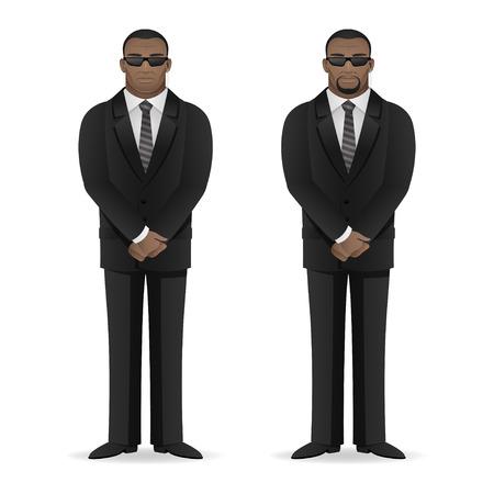 黒人男性のボディー ガードは閉じたポーズに立っています。  イラスト・ベクター素材