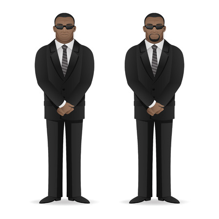 secret agent: Black man bodyguard stands in closed pose