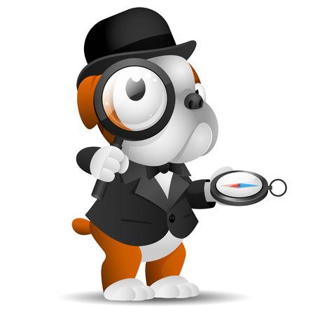 englishman: English bulldog holds magnifying glass and compass