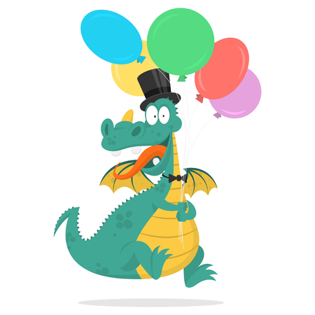 fictional character: Cheerful dragon holds in hands balloons Illustration
