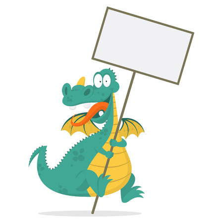 Cheerful dragon holds in hands blank board Stock Vector - 26004381