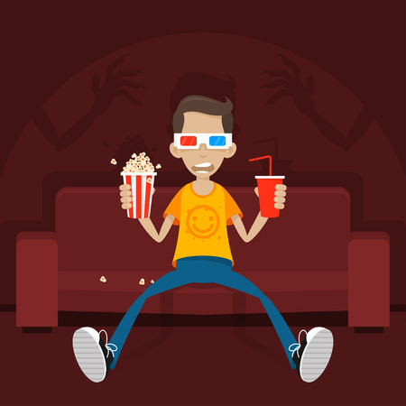 halloween tee shirt: Teenager sits on sofa in 3D glasses