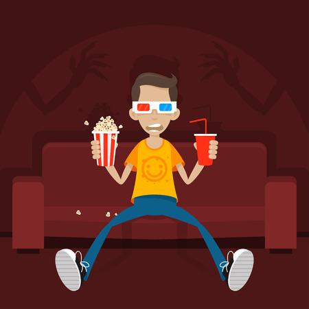 halloween tee shirt: Teenager sits on sofa in 3D glasses