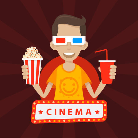 Teenager smiles in 3D glasses Vector
