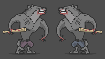 Two aggressive werewolf fighting Vector