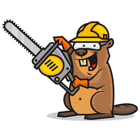 Beaver tiene motosierra Ilustración de vector