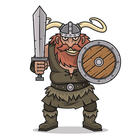 Angry Viking stand with sword and shield Vector
