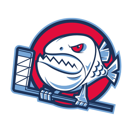 Emblem aggressive piranha holds hockey stick Vector