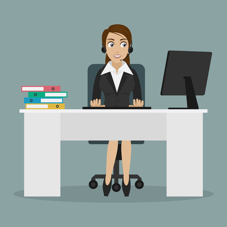 Girl operator sits on chair at table Illustration