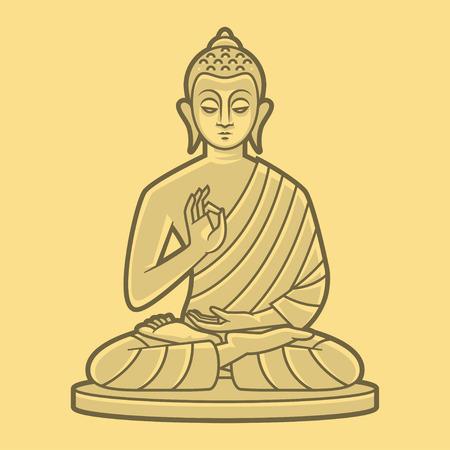Buddha meditates Vector