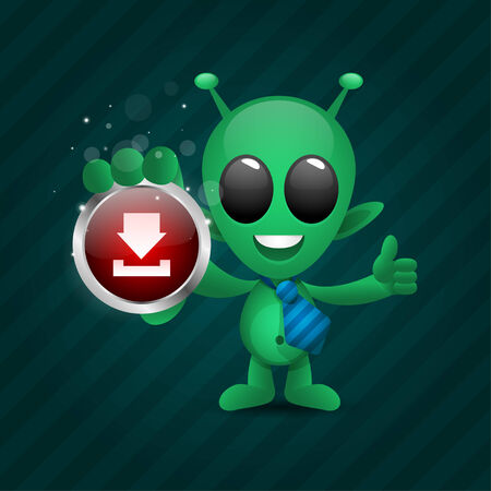 Alien holds download icon Vector