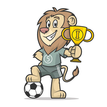 Lion footballer holds cup first place Vector
