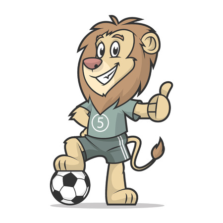 Lion footballer showing thumb up Illustration