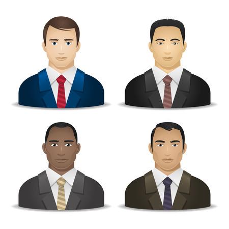 multi ethnic group: Business men various nationalities Illustration