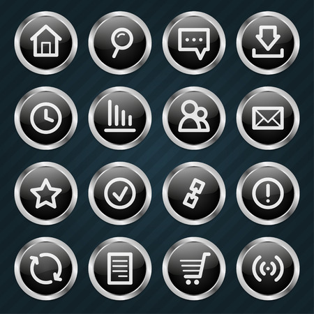 Internet Icons metal style Vector
