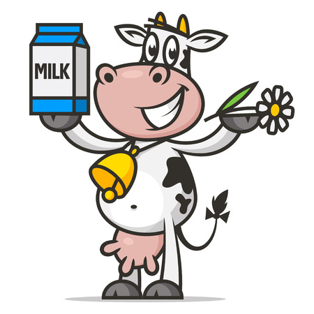 dairy cattle: Cheerful cow holds flower and packaging milk Illustration