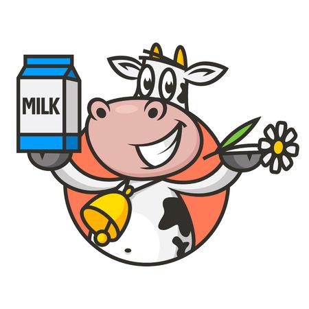 envase de leche: Vaca emblema tiene flor y envasado de leche Vectores