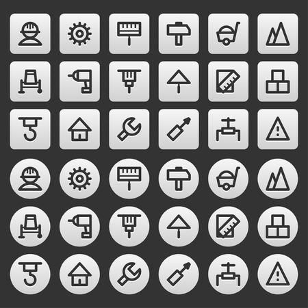 stone work: Gray icons set repair construction