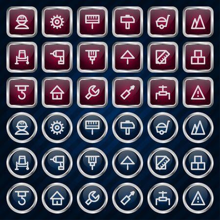 hoisting: Metal icons set repair construction Illustration