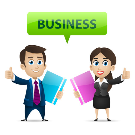 communication cartoon: Businessman and business woman showing thumbs up