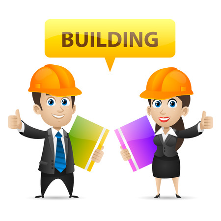 Builders man and woman showing thumbs up Ilustracja