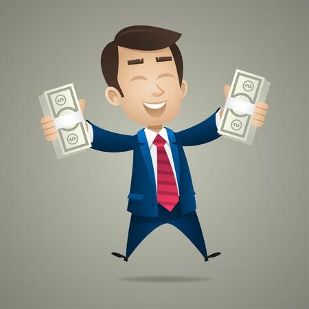 ビジネスマン ドル紙幣を手に保持します