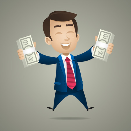 Businessman holds in hand dollar banknotes