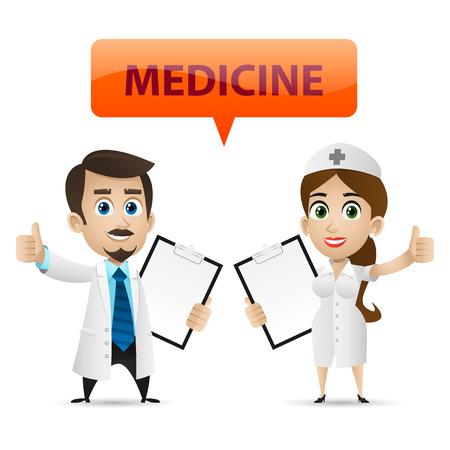 medical assistant: Enfermera y doctor que muestra el pulgar hacia arriba Vectores
