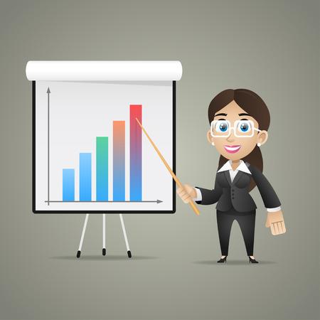 flipchart: Business woman points on flipchart