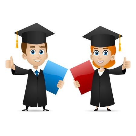 birrete de graduacion: Individuo graduados universitarios chica muestra los pulgares para arriba Vectores