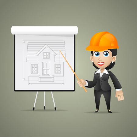Builder woman points on flipchart Vector