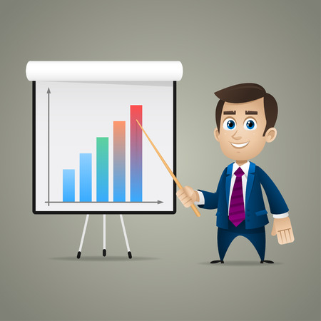 Businessman points on flipchart