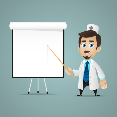 Doctor points on flipchart Illustration