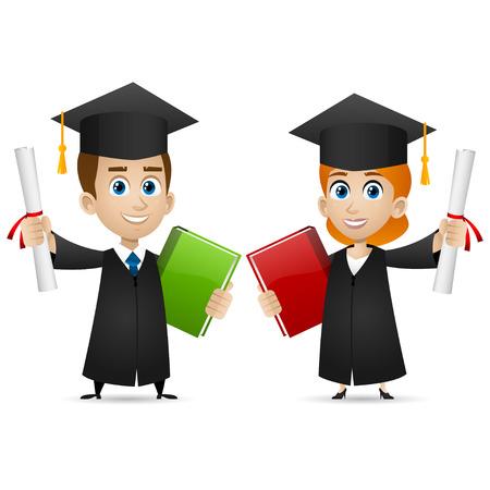 男の女の子の大学の卒業生が卒業証書を保持します。  イラスト・ベクター素材
