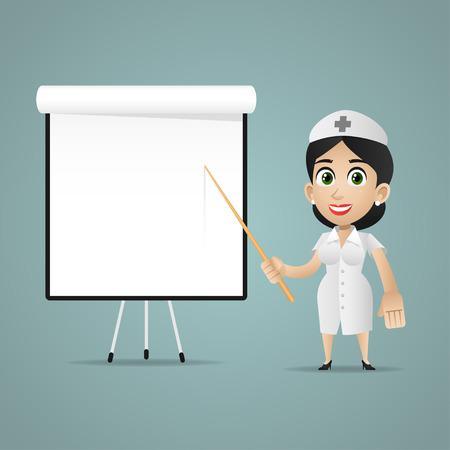 medico caricatura: Enfermera puntos en el rotafolio