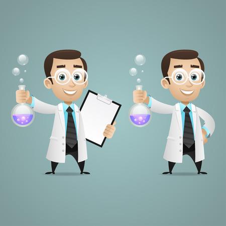 若い科学者保持する試験管とタブレット