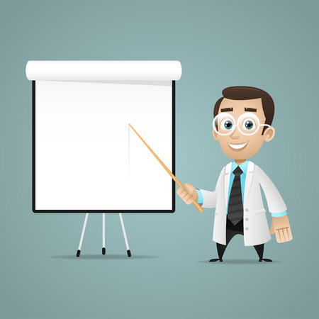 Young scientists points on flipchart Illustration