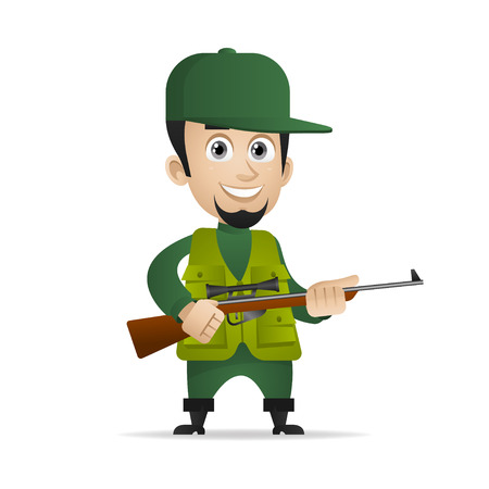 Concept cheerful hunter holds shotgun Illustration