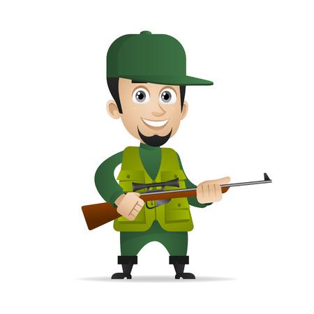 Concept cheerful hunter holds shotgun Illustration