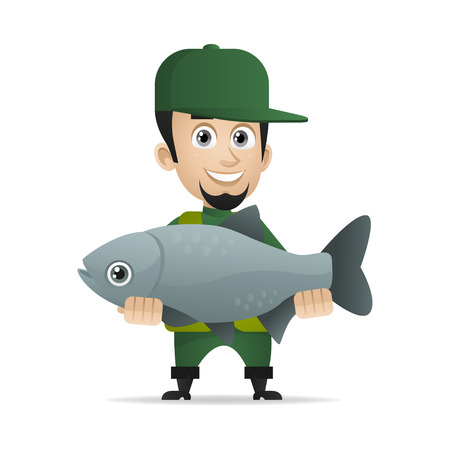 fishery: Concept cheerful fisherman caught big fish