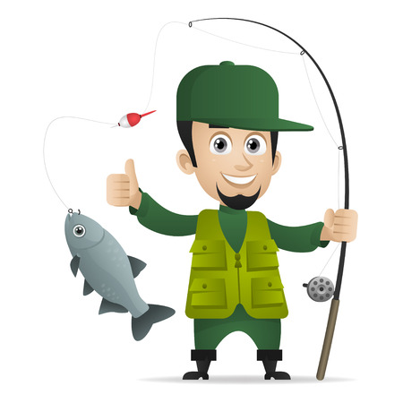 Concept cheerful fisherman holds fishing rod Vector