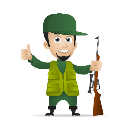 Hunter holds shotgun and showing thumbs up Illustration