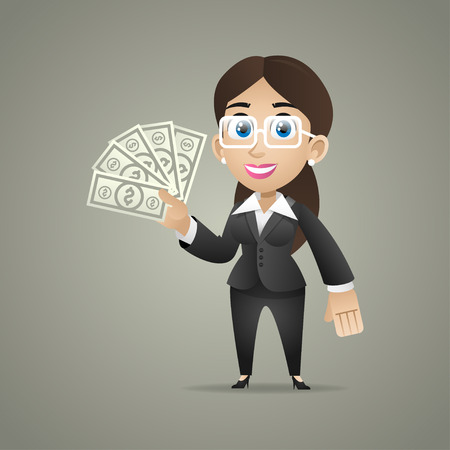 woman holding money: Business woman holds dollar notes in hand Illustration